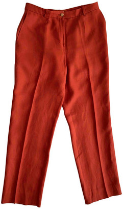 Hermes Red Linen Trousers
