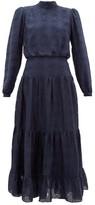 Saloni Isabel Silk-blend Brocade Dress - Womens - Navy Multi