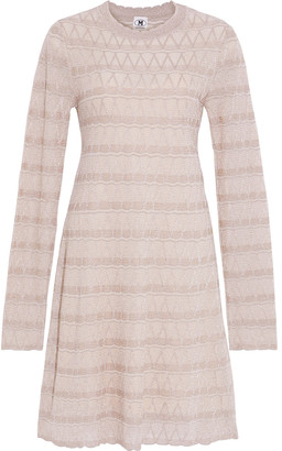 M Missoni Scalloped Metallic Crochet-knit Mini Dress