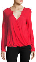 Splendid Heavy Slub Long-Sleeve Surplice Top