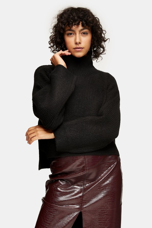 Topshop Womens Black Cropped Funnel Neck Knitted Jumper - Black