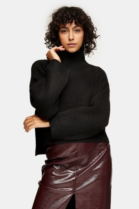 Topshop Womens Black Cropped Funnel Neck Knitted Jumper - Black