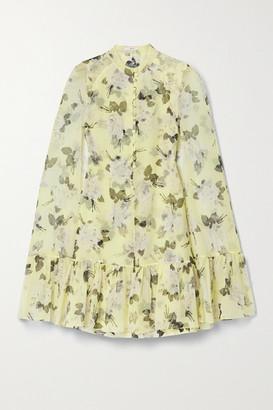 Erdem Constantine Cape-effect Floral-print Silk-voile Mini Dress - Pastel yellow