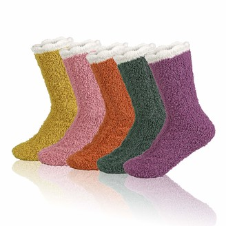 Zyxformis Warm Winter Fuzzy Socks for Women Soft Slipper Plush Socks Fluffy Socks Sleep Cozy Sock 5 Pairs Gift