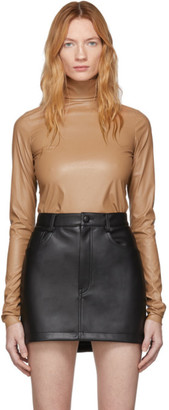 we11done Beige Faux-Leather Simple Turtleneck