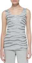 Joan Vass Sequined Cotton Shell, Grey Heather, Petite