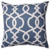 "Pillow Perfect, Inc. Lattice Damask Blue 16.5"" Throw Pillow, Blue"