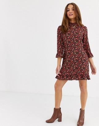 Nobody's Child high neck mini dress with ruffle hem and cuff in ditsy rose print