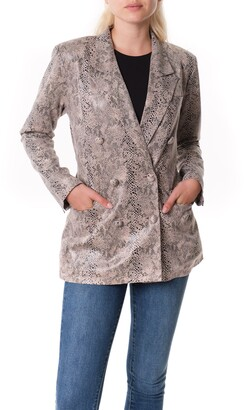 Blank NYC Snake Print Faux Leather Blazer