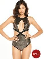 Rare Sequin Plunge Swimsuit - Black/Gold