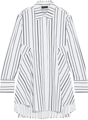 Donna Karan Paneled Striped Cotton-blend Poplin Shirt