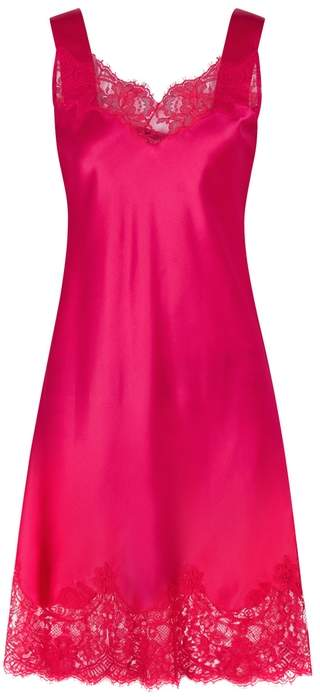 Givenchy Fuchsia Lace-trimmed Satin Dress