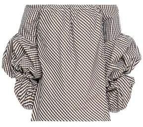 Petersyn Off-the-shoulder Gingham Cotton-poplin Top