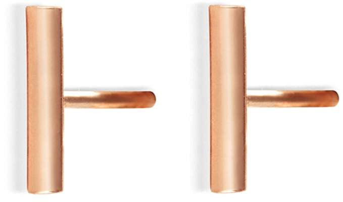 ginette_ny Gold Strip Stud Earrings - Rose Gold