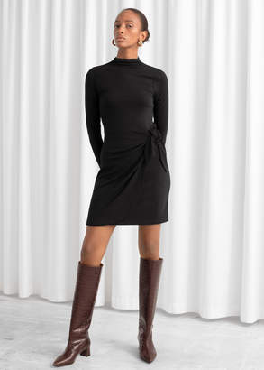 And other stories Knot Tie Ribbed Mini Dress