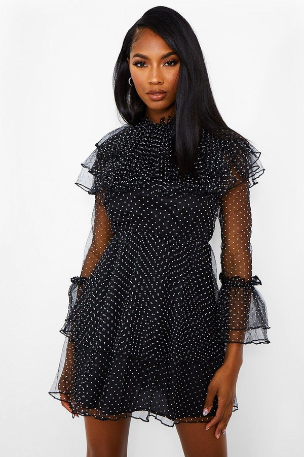 boohoo Dobby High Neck Ruffle Mini Dress
