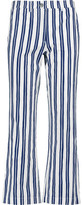 MiH Jeans Coler Flare Cropped Striped Cotton Straight-Leg Pants