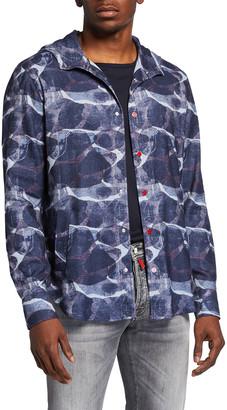 Kiton Men's Large Print Hooded Snap-Front Shirt Jacket