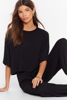 Nasty Gal Womens Cropped Jersey T-Shirt And Wide-Leg trousers - black - 8, Black