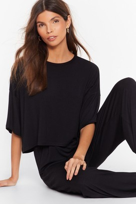 Nasty Gal Womens Chill Next Time Tee and Wide-Leg Trousers Set - black - 6
