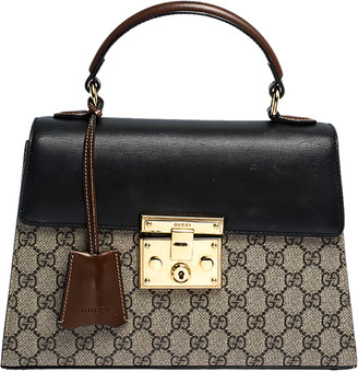 Gucci Beige/Black GG Supreme Canvas and Leather Small Padlock Top Handle Bag