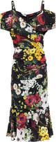 Dolce & Gabbana Cold-shoulder Wrap-effect Floral-print Stretch-silk Midi Dress
