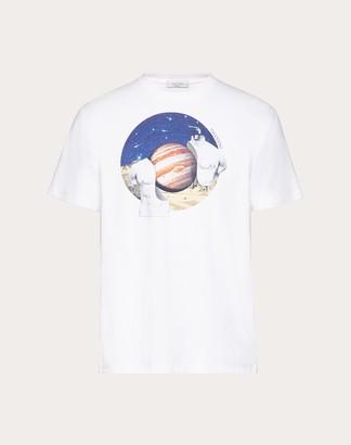 Valentino Soul Planets T-shirt Man White/jupiter Cotton 100% L