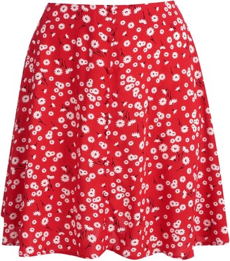 New Look Daisy Print Button Mini Skirt
