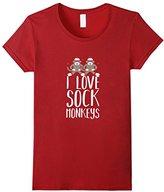 I Love Striped Classic Sock Monkey T-Shirt Tee Shirt Gift