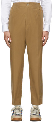 Gucci Khaki Cotton Poplin Label Trousers