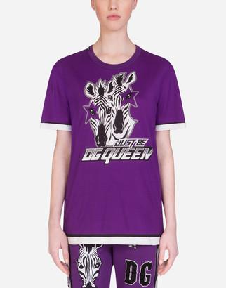 Dolce & Gabbana Round-Neck T-Shirt With Zebra Jungle Sport Print