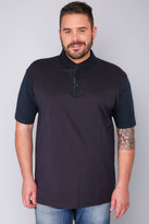 Yours Clothing BadRhino Navy Short Sleeve Polo Shirt With Red Dot Print - TALL