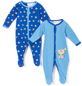 Sweet & Soft Blue Bear & Stars Footie Romper Set