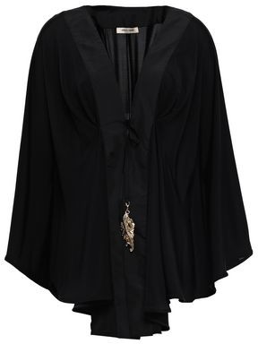 Roberto Cavalli Satin-trimmed Embellished Stretch-jersey Coverup