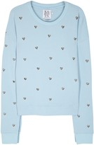 Zoe Karssen Blue Heart-embellished Cotton Sweatshirt