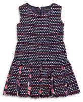 Oscar de la Renta Girl's Tweed & Watercolor-Poppies Pleated Dress