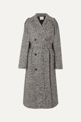 Stella McCartney Oversized Double-breasted Belted Melange Wool-tweed Coat - Black
