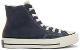 Converse Navy and Pink Shearling Chuck 70 Hi Sneakers