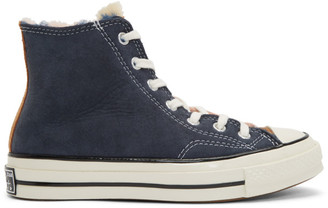 Converse Navy and Pink Shearling Chuck 70 Hi Sneakers
