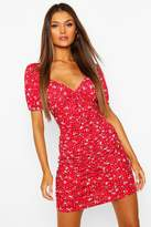 boohoo Floral Print Ruched Front Mini Dress