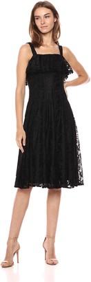 Taylor Dresses Women's Sleeveless Ruffle Lace Midi Dress
