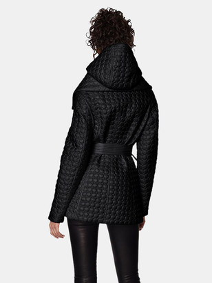 Dawn Levy Morgan Modern Jewel Circle-Quilted Coat with Set-In Hooded Bib