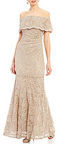 Xscape Evenings Off-The-Shoulder Ruffle Lace Gown