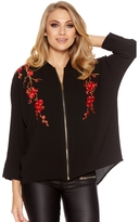 Quiz Black Crepe Floral Embroidered Zip Front Shirt