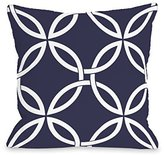 One Bella Casa 74678PL18 18 x 18 in. Interwoven Circles Midnight Pillow