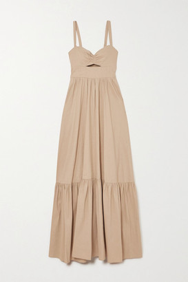 A.L.C. X Petra Flannery Everly Cutout Smocked Linen-blend Maxi Dress - Sand