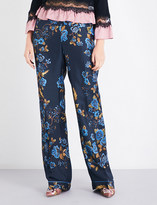 Alberta Ferretti Floral-print relaxed-fit silk-satin trousers