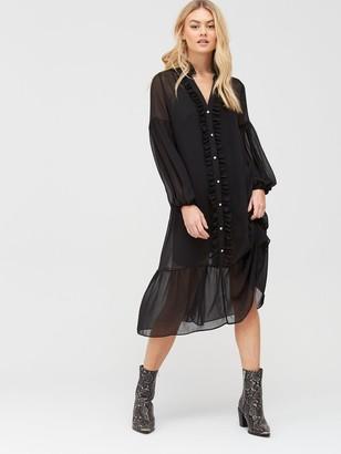 River Island Ruffle Smock Midi Dress - Black