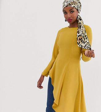 Verona asymmetric long sleeve top in mustard