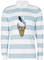 Topman DESIGN Blue Stripe Ice Cream Rugby Shirt